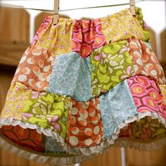 patchwork twirl skirt for girls by Modern Mama & Bebe- handmade., via Flickr