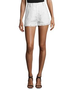 MCQ BY ALEXANDER MCQUEEN Lace High-Rise Shorts, Ivory. #mcqbyalexandermcqueen #cloth #