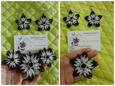 Orecchini jewellery black and White quilling