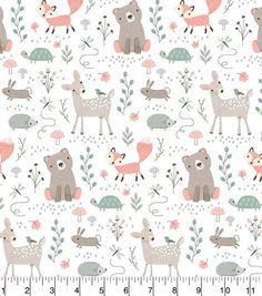 bear fabric bear print woodland fabric woodland animal fabric woodland print fox fabric deer fabric cotton by the yard cotton fabric
