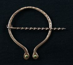 Penannular, forged copper with brass rivets, 001 by crquack on Etsy