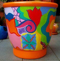Vaso colorido, pintado à mão – Além da Rua Atelier