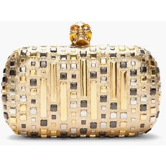 ALEXANDER MCQUEEN Gold Studded Classic Skull Box Clutch ($1,875) ❤ liked on Polyvore