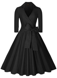 Miusol Women's Deep-V Neck Half Sleeve Bow Belt Vintage Classical Casual Swing Dress, Black, Medium - $40