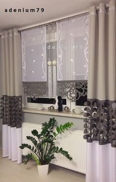 Panel with openwork Living Room Decor Curtains, Home Curtains, Curtains With Blinds, Kitchen Curtains, Curtain Styles, Curtain Designs, Home Decor Kitchen, Diy Home Decor, Rideaux Design