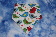 Cute birds Bandana dribble bib drool bib UK seller by SewBitsy, £4.00