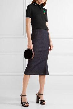 Dolce & Gabbana - Appliquéd Cotton-piqué Polo Shirt - Black - IT46