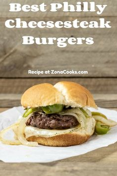 Best Philly Cheesesteak Burgers are the perfect year round burger that will stand out from the crowd. All of the classic cheese steak flavors of green pepper, onion, and melted cheese are combined in this juicy quarter pound burger. This recipe makes a small batch of two quarter pounders and makes a great lunch, dinner, game day, or romantic date night meal. #PhillyCheesesteak #burgers #hamburgers #beef #DinnerForTwo #LunchForTwo #RecipesForTwo #datenight #gameday Best Beef Burger Recipe, Burger Recipes, Gourmet Burgers, Beef Burgers, Date Night Recipes, Dinner Recipes, Best Philly Cheesesteak, Dinner Games, Great Recipes