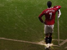 @manutd legend Cristiano Ronaldo strikes a pose by the corner flag at Old Trafford.