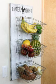 This produce rack is amazing!  It is the perfect way to store fresh fruits and veggies instead of having them clutter the counter all of the time!
