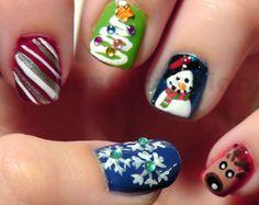 Christmas Chevron nail art designs