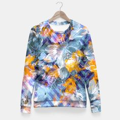 Abstract flowers and plants with geometric Sudadera entallada
