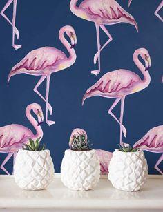 Roze flamingo behang verwisselbare behang van Jumanjii op Etsy