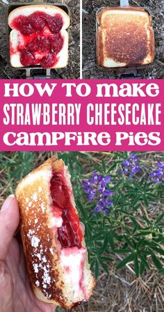 Strawberry Cheesecake Campfire Pies Camping Desserts, Fun Desserts, Dessert Recipes, Camping Foods, Camping Drinks, Family Camping, Easy Food For Camping, Meals For Camping, Camping Food Pie Iron