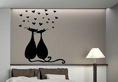 Wall Vinyl Sticker Decal Romantic Love Cats Heart Hugs Decor (n105)