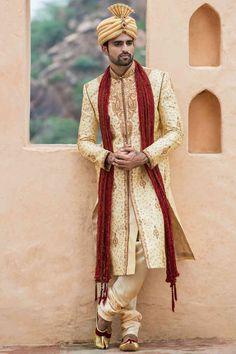 Biscuit Embroidered sherwani - Designer Wedding Sherwani for Men - Manyavar