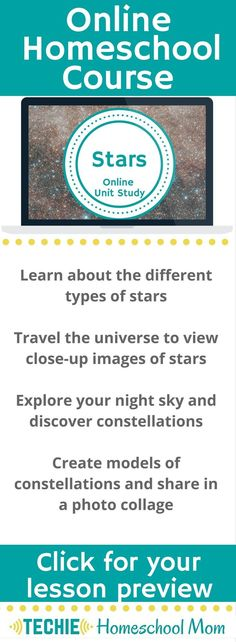 Try the Stars Online Unit Study. This online homeschool course integrates multiple subjects for multiple ages of students. Access websites and videos and complete digital projects. With Online Unit Studies' easy-to-use E-course format, no additional books or downloads are needed. Just gather supplies for hands-on projects and register for online tools. Click for your free lesson.