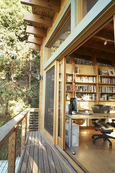 A writer's office built over the garage and up in the trees. Project Name: Laurelwood Avenue Location: Studio City, California Project Description: Addition over a garage. Conversion into guest house/office Size: 350 sq. Home Office Design, Interior Design Living Room, House Design, Interior Livingroom, Kitchen Interior, Garage Office, Cabin Office, Car Garage, Garage Loft