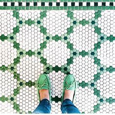 Green and white hex tiles