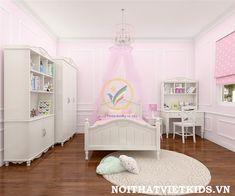 Phòng ngủ cho bé gái tân cổ điển: http://noithatvietkids.vn/phong-ngu-be-gai-tan-co-dien-png-010/