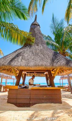 A beach bar and restaurant at Dina Robin Resort (Le Morne, Mauritius).