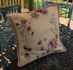 Em's Heart Antique Linens -Antique Society Silk Embroidered Pillow Sham