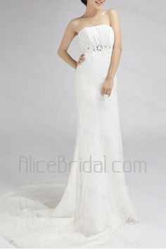Lace Strapless Chapel Train Mermaid Wedding Dress with Crystal - Alice Bridal