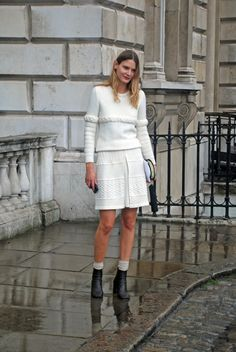 Taking chunky knits to a new level with matching skirt and jumper.