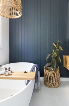 Room tour: A stunning deep blue coastal luxe bathroom. Panel wall in bathroom coastal style bathroom timber floating vanity bathroom inspiration blue and timber bathroom bathroom ideas rattan pendant in bathroom // Bathroom Design // Bathroom Layout, Bathroom Interior Design, Bathroom Ideas, Bathroom Organization, Bathroom Storage, Shower Ideas, Restroom Design, Tile Layout, Diy Shower