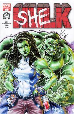 She-Hulk & The Hulk - sketch cover - Mark Brooks