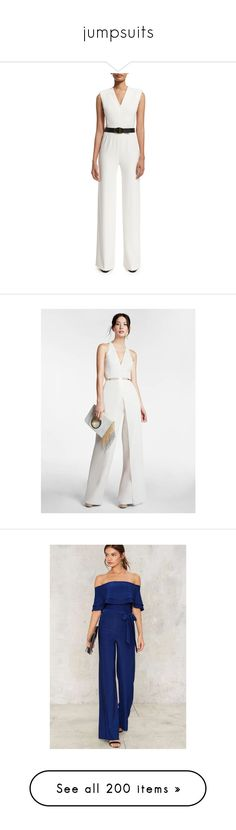 """jumpsuits"" by vgm-sindhu ❤ liked on Polyvore featuring jumpsuits, frost, wide leg jumpsuit, white jump suit, jump suit, white jumpsuit, escada, oyster, white v neck jumpsuit and crepe jumpsuit"