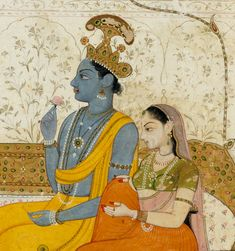 Detail from Raja Balwant Singh's Vision of Krishna and Radha, ca. Attributed to Nainsukh. Poetry and Devotion in Indian Painting: Two Decades of Collecting Mughal Miniature Paintings, Indian Traditional Paintings, Vedic Art, India Art, Miniature Art, Hindu Art, Tribal Art, Pichwai Paintings, Mughal Paintings