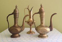Vintage Brass Indian Pitcher Set / Brass by LeBrunDesignsInc, $45.00
