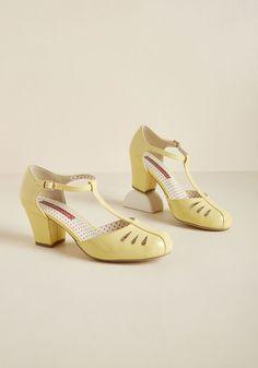 B.A.I.T. Footwear Shimmer Down Now T-Strap Heel in Lemon Gloss
