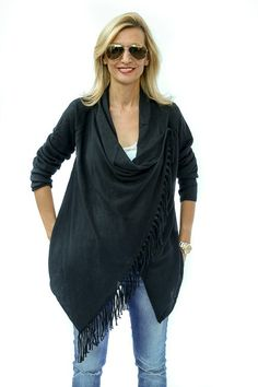 Jacket-Society-The Black Fringed Assymetrical Sweater-9101