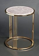 Round side table of gilt brass with rose quartz