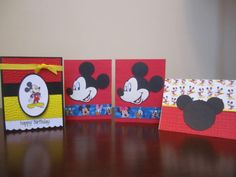 Set of Four (4) Disney Mickey Mouse Handmade Greeting Cards, birthday, thank you