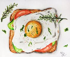 Food Watercolor Illustration by Erika Lancaster #watercolor #watercolour #illustration
