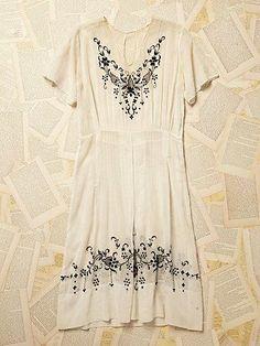 Vintage 1930s Embroidered Dress