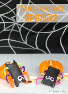Halloween Kid Craft: Candy Filled Toilet Paper Roll Spiders