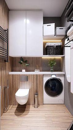 Small Bathroom Plans, Bathroom Design Small, Bathroom Interior Design, Kitchen Design, Toilet Room Decor, Bathroom Vanity Designs, Bathroom Design Inspiration, Laundry Room Design, Minimalist Interior