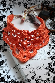 Crochet Necklace Crochet Collar Statement Necklace by myprettybabi, $53.00