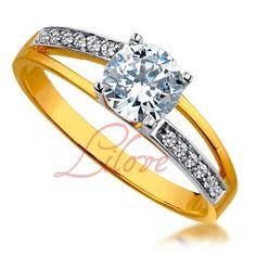 Złoty pierścionek zaręczynowy Lilove Cubic