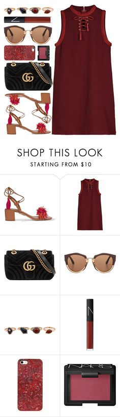 """""""Tunis"""" by monmondefou ❤ liked on Polyvore featuring Aquazzura, Gucci, Marni, WithChic, NARS Cosmetics and red"""