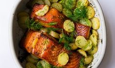 Catch of the day: hot-smoked salmon, potatoes and dill by Nigel Slater Veggie Recipes Tasty, Dill Recipes, Smoked Salmon Recipes, Uk Recipes, Seafood Recipes, Cooking Recipes, Seafood Dishes, Vegan Recipes, Salmon Potato