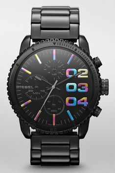 Diesel DZ5340 Black Fire Franchise Chronograph Refined meets dynamic in this Franchise extension. Black-tone plating offers a sleek look and feel, but rainbow indexes add a hard-hitting pop of eclectic color for a combination found nowhere else.