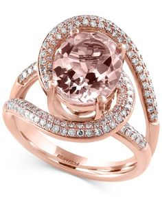A true blushing beauty. This 14k rose gold ring from Effy flaunts oval-cut morganite (3-1/4 ct. t.w.) framed with rows of round-cut diamonds (1/2 ct. t.w.). | Photo may have been enlarged and/or enhan