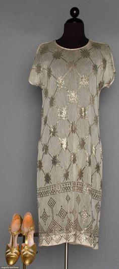 Asuite Party Dress & Gold Pumps, 1920s, Augusta Auctions, November 11, 2015 NYC