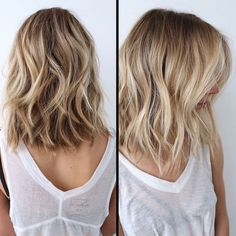 two images showing a woman with blonde hair, with waves and light blonde balayage, medium length hairstyles for thin hair, white sheer tank top, over a black bustier hair lengths + Ideas for Stunning Medium and Short Hairstyles For Fine Hair Balayage Blond, Blonde Wig, Balayage Long Bob, Blonde Ombre Short Hair, Long Bob Blonde, Blond Highlights, Medium Hair Styles, Curly Hair Styles, Haircut For Thick Hair