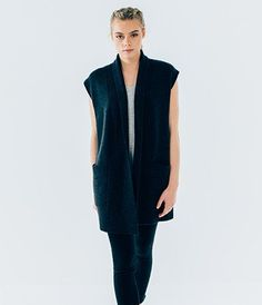 Sleeveless Chunky Merino Cardigan - Dark Grey Marl